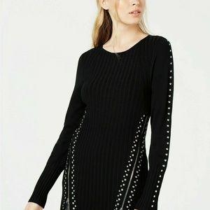 Bar III Sweater Tunic Black Zippers Studs Sz L